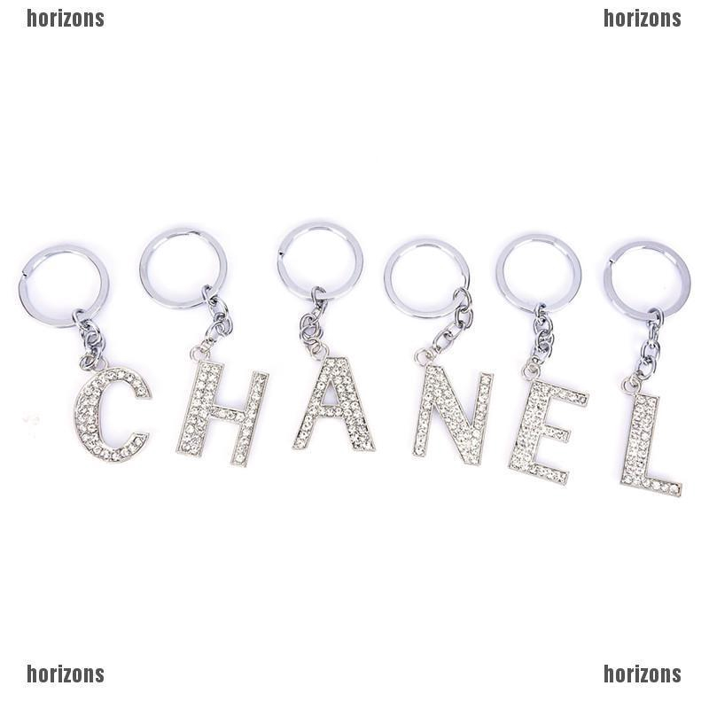 Details about  /Crystal Sparkly Alphabet Initial Letter A-Z Keyring Keychain Key Ring//Chain