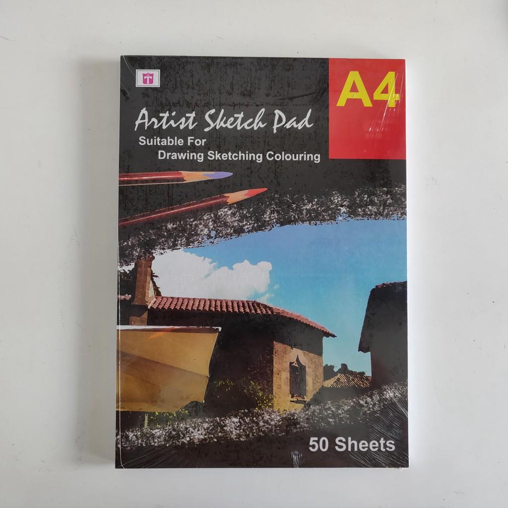 Tiara Sketch Book Pad A4 150 Gram 50 Lembar Buku Sketsa Gambar Lukis Cat Air Bukan Kiky Lyra