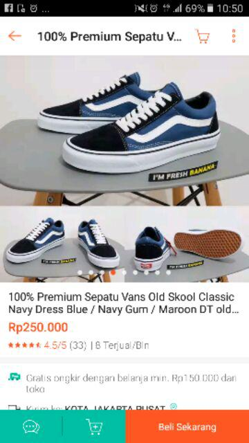 100% Premium Sepatu Vans Old Skool Classic Navy Dress Blue   Navy ... ae8f12eeb8