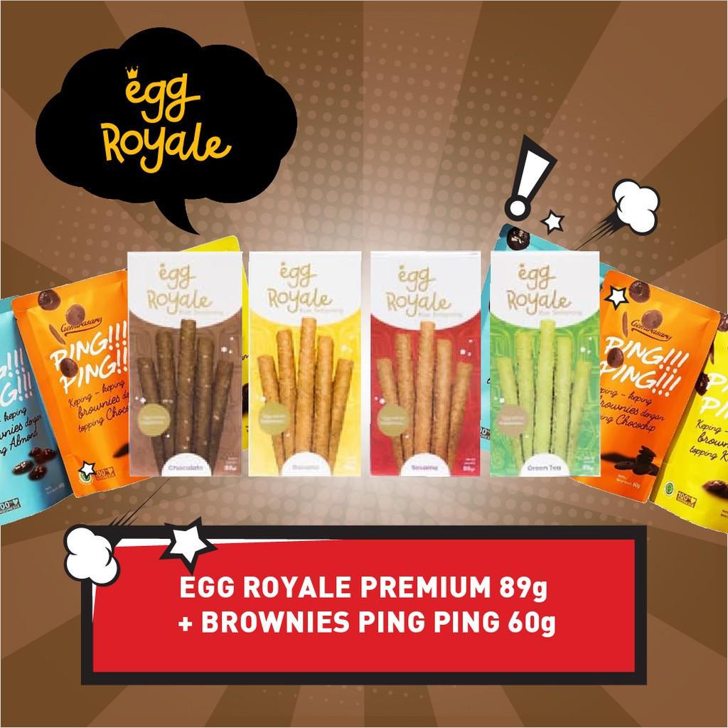 Egg Royale 89 gr Bonus Keping Brownies Kering 65gr Eggroll Kue Semprong Snack cemilan Koin