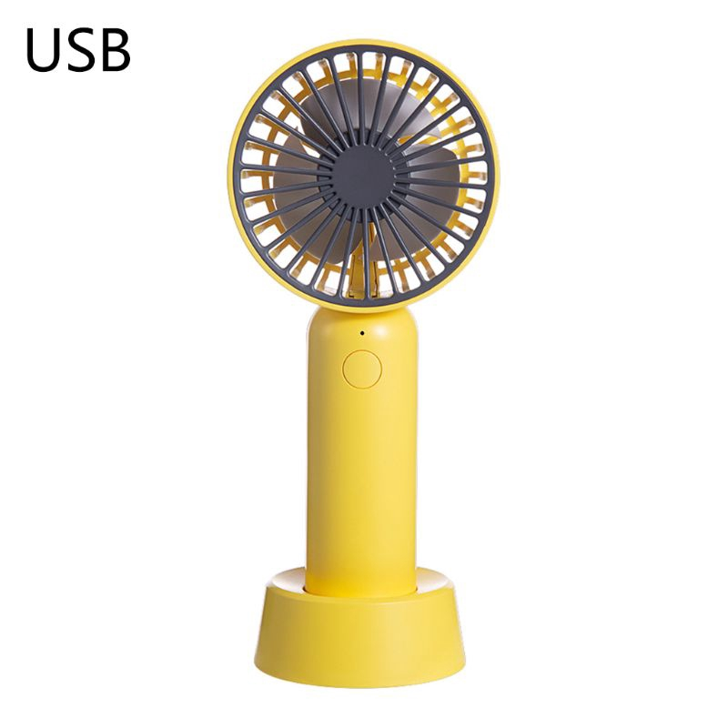 Color : White Support 3 Speed Control USB Fan YXC Small Fan Portable USB Charging Desktop Handheld Electric Fan Pink