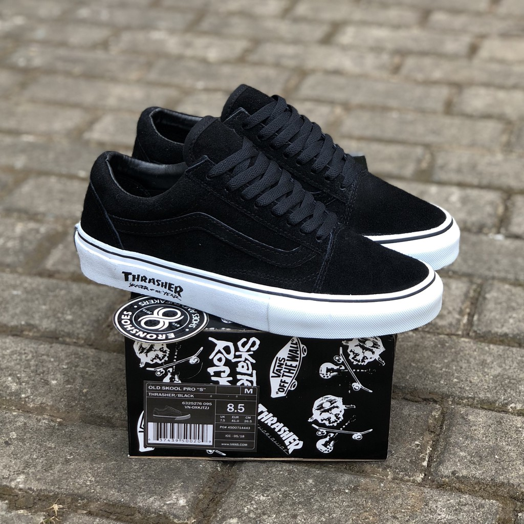 100% PREMIUM THRASHER X VANS OLDSKOOL PRO S SKATER OF THE YEAR FULL SUEDE  WAFFLE ICC  fe705cd04f