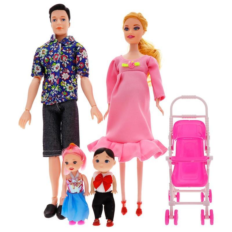 Qw Set Mainan Boneka Barbie Ibu Hamil Ayah Anak Laki Laki Perempuan Bayi Stroller Untuk Hadiah Shopee Indonesia