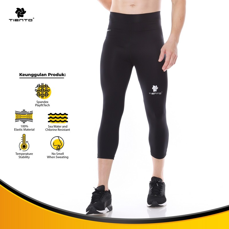 Tiento Baselayer Celana Legging Leging Ketat Olahraga 3 4 Pants Black White Original Shopee Indonesia