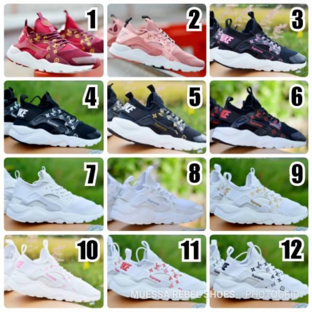 a7637665a557 Sepatu Wanita Nike Huarache x Supreme x LV Louis Vuitton Sneakers Kasual  Santai