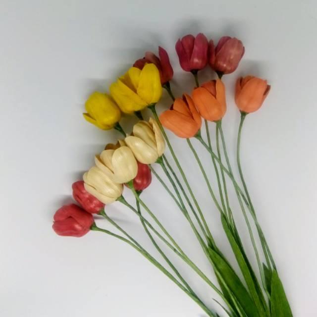 Bunga Tulip Tangkai Kulit Jagung Klobot Shopee Indonesia