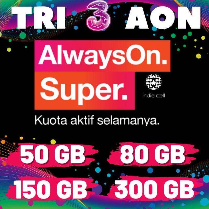 PAKET DATA TRI AON 50GB/80GB/150GB/300GB AKTIF SELAMANYA