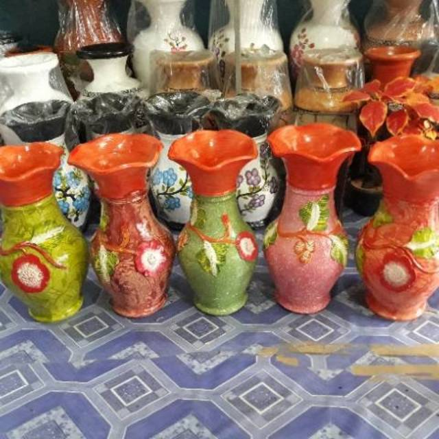 Pot Guci Gerabah Vas Bunga Batik Shopee Indonesia