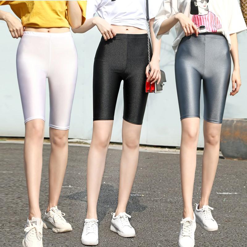 Celana Legging Pendek Wanita Model High Waist Dengan Potongan Slim Dan Bahan Sutra Warna Berkilau Shopee Indonesia