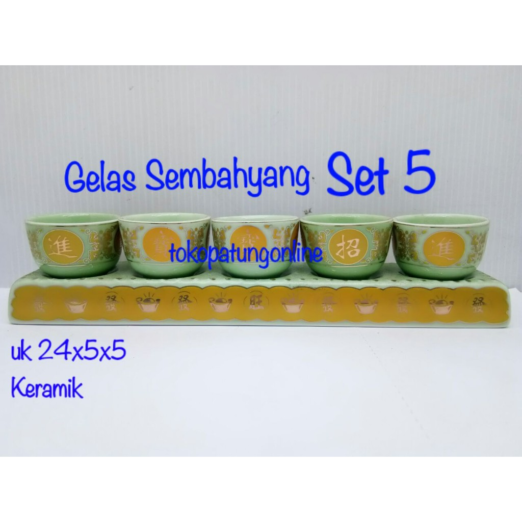 Gelas Sembahyang Set 5 Keramik Maron 805 Shopee Indonesia Minum Kaca Mug Cangkir Unik Tutup Sedotan Beer Hkn205