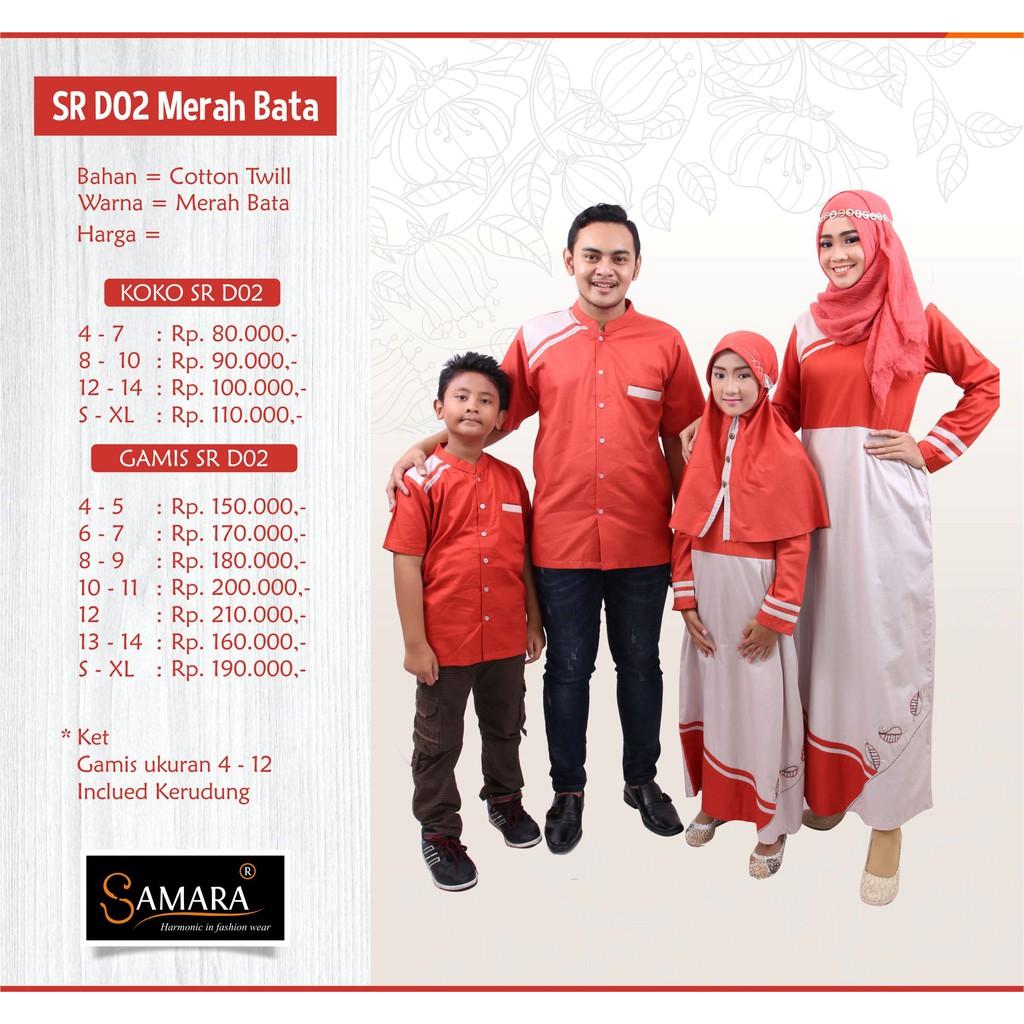 Baju Couple Keluarga Busana Muslim Sarimbit Gamis Syari Koko Lebaran Pria Anak Wanita / SAMARA D02 | Shopee Indonesia