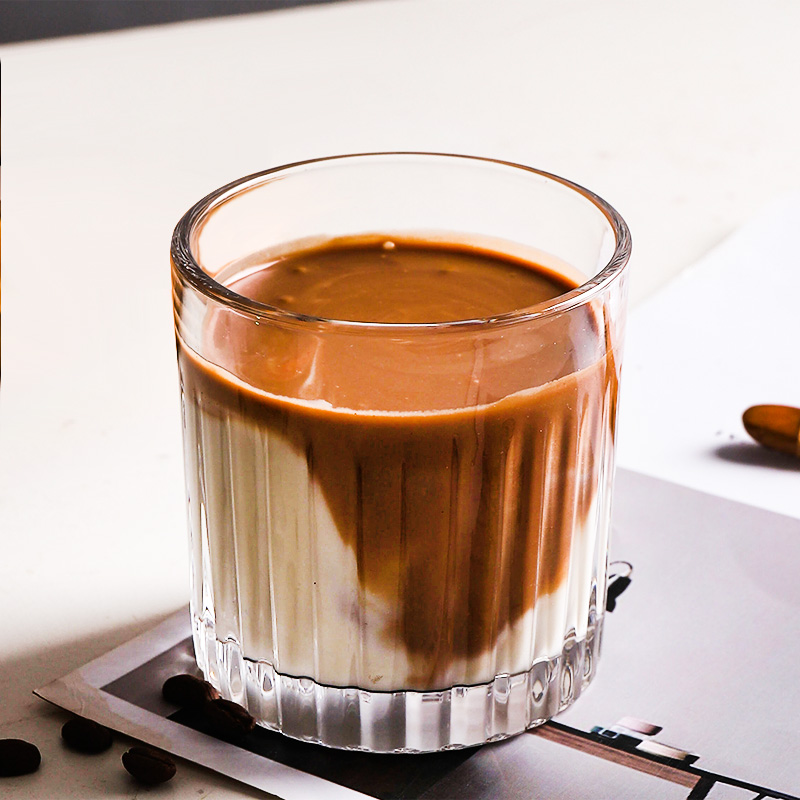 Ins Latte Coffee Cup Cold Brew Cup Garland Coffee Cup Retro Striped Glass Ice Coffee Cup Whiskey Glass Shopee Indonesia