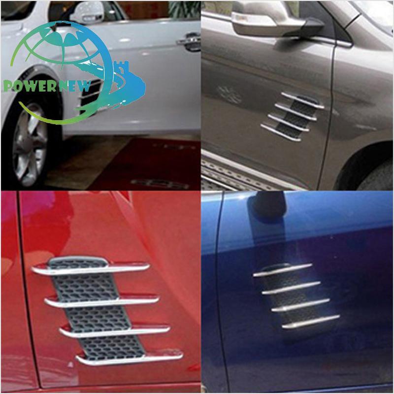 2x Red Car Exterior Hood Air Flow Fender Side Vent Intake Decoration Sticker