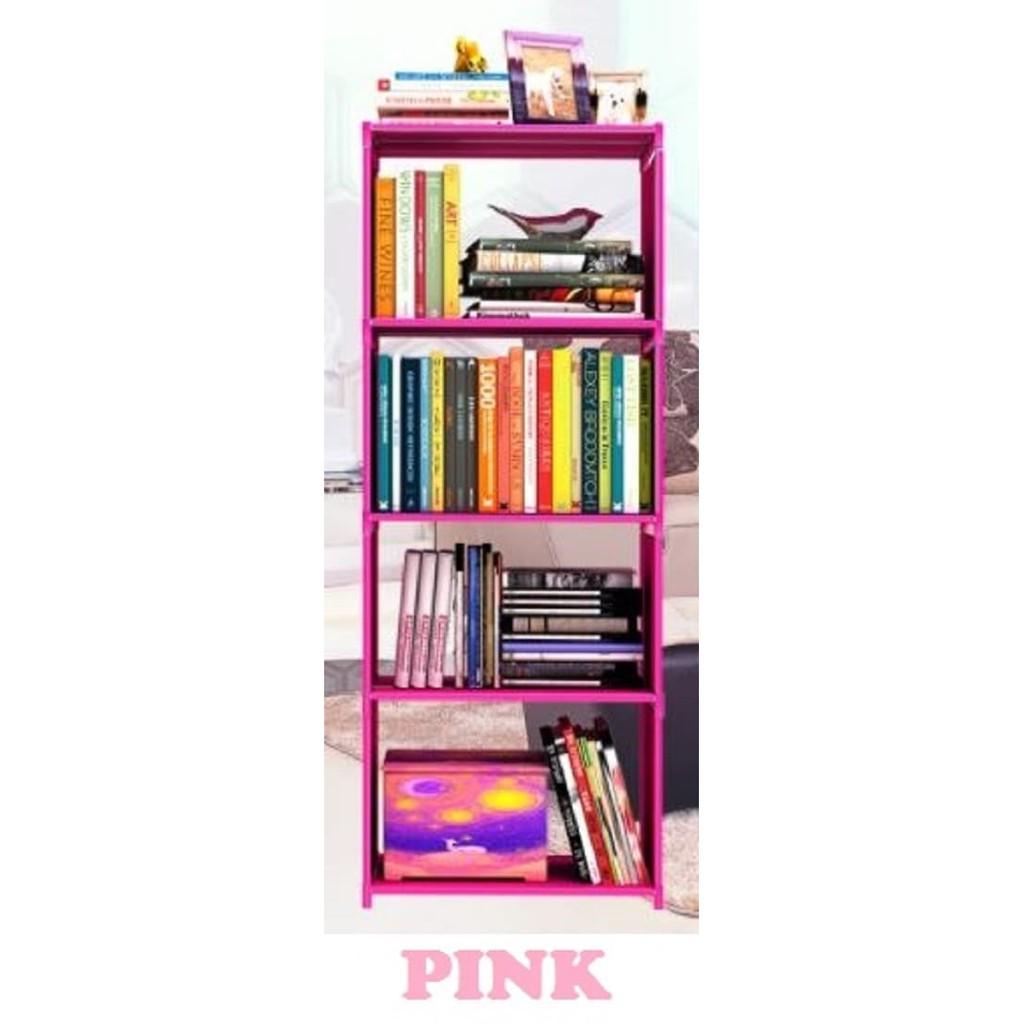 Murah Rak Serbaguna 5 Susun Portable Buku Pink Polos