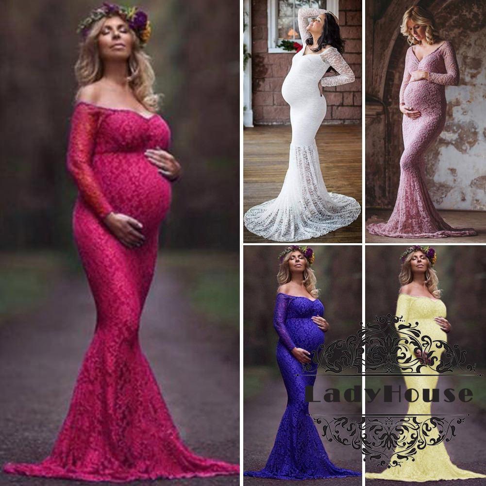 Ichang Long Dress Maxi Bahan Lace untuk Wanita Hamil dari gaun pengantin  pesta bahu