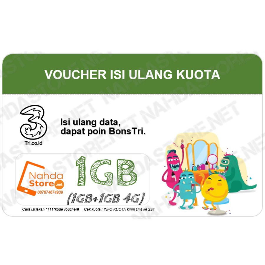 VOUCHER TRI 1GB PAKET DATA THREE INTERNET Bonus 4G KUOTA