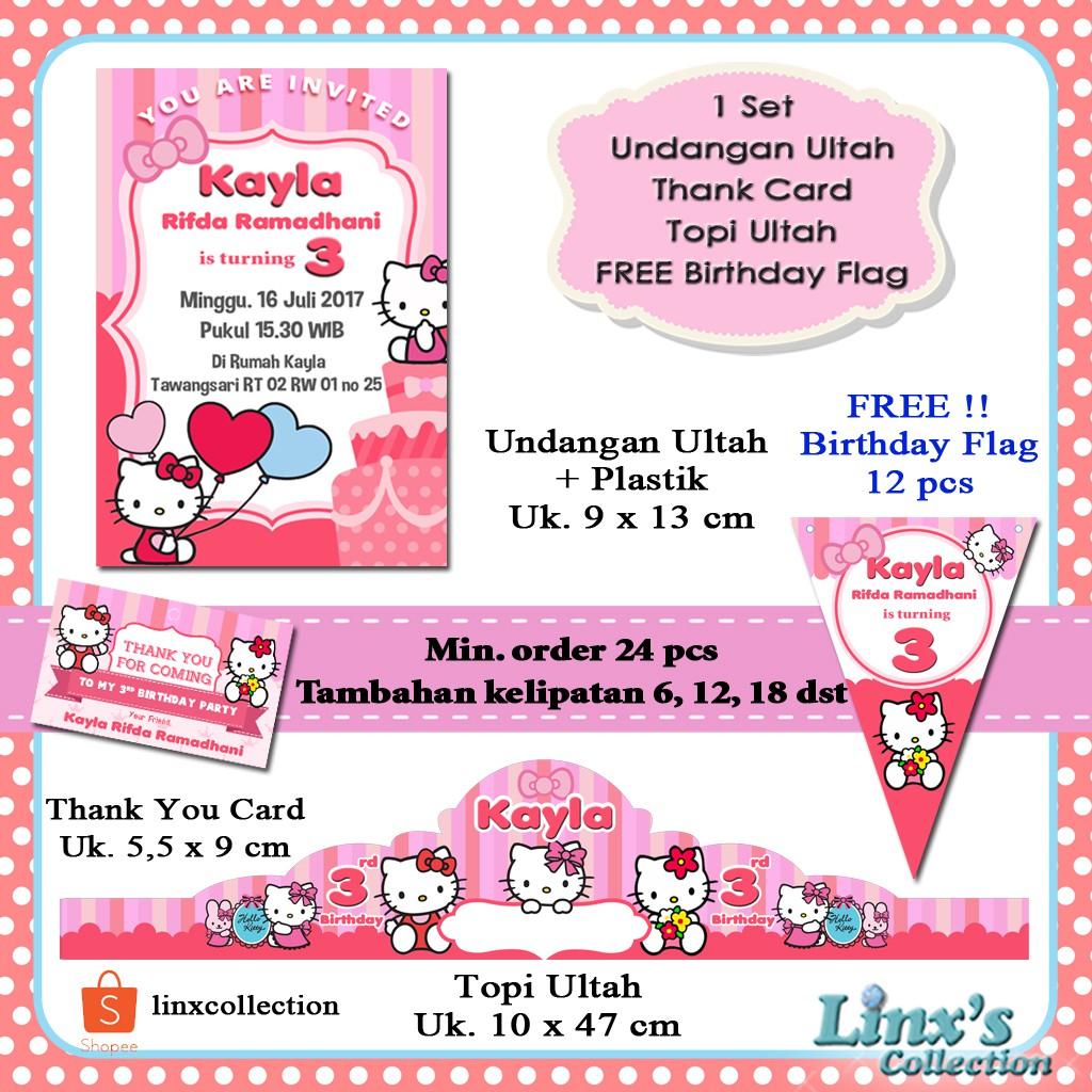 Souvenir Ultah 1 Set Undangan Ultah Anak Kartu Souvenir Topi Ulang Tahun Hello Kitty Shopee Indonesia
