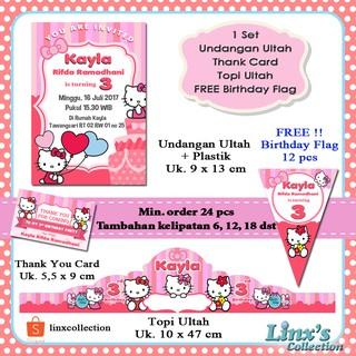 Souvenir Ultah 1 Set Undangan Ultah Anakkartu Souvenirtopi Ulang Tahun Hello Kitty