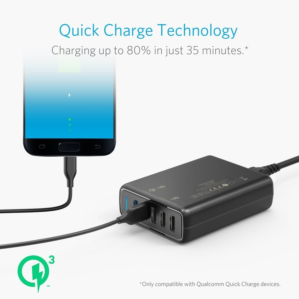 Anker Desktop Charger Powerport 6 Quick Charge 30 Hitam A2063j11 Black Shopee Indonesia