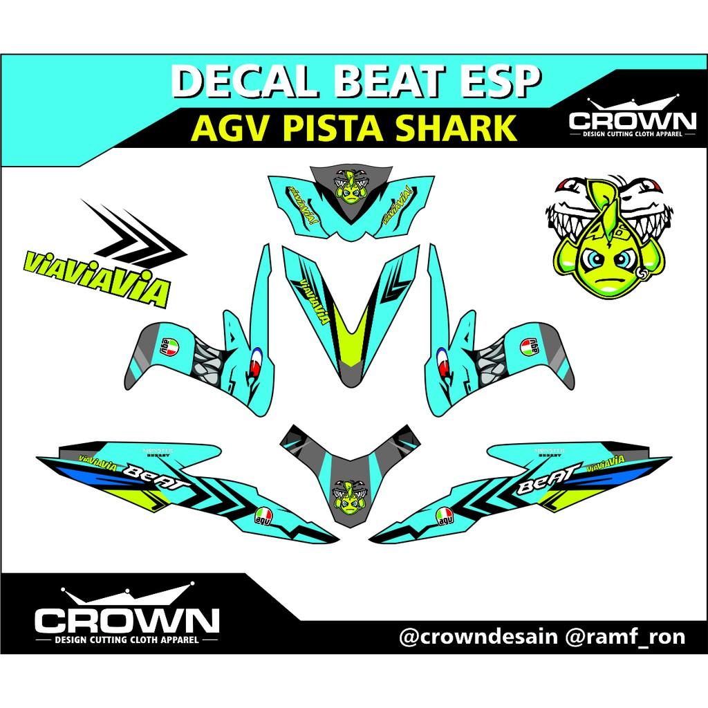Decal beat esp agv pista shark vxxentino rossi shopee indonesia