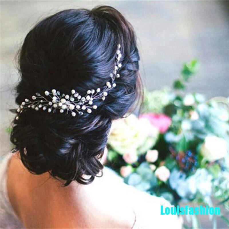 Louisfashion Bride Bridal Hair Comb Wedding Headwear Pearl Women Jewelry Hair Accessories Shopee Indonesia
