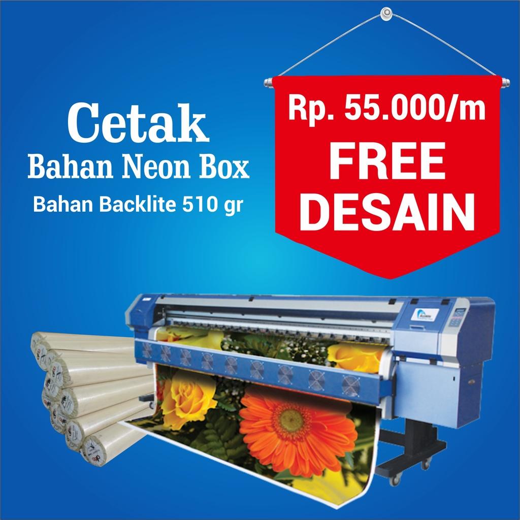 cetak bahan backlite neon box plang toko free desain