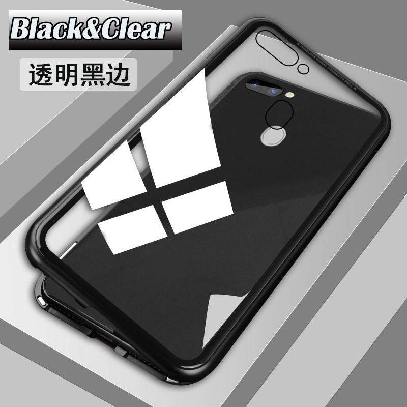 OPPO R15 / R15 Dream Clear Tempered Glass Metal Magnetic Bumper Back Case Cover | Shopee Indonesia