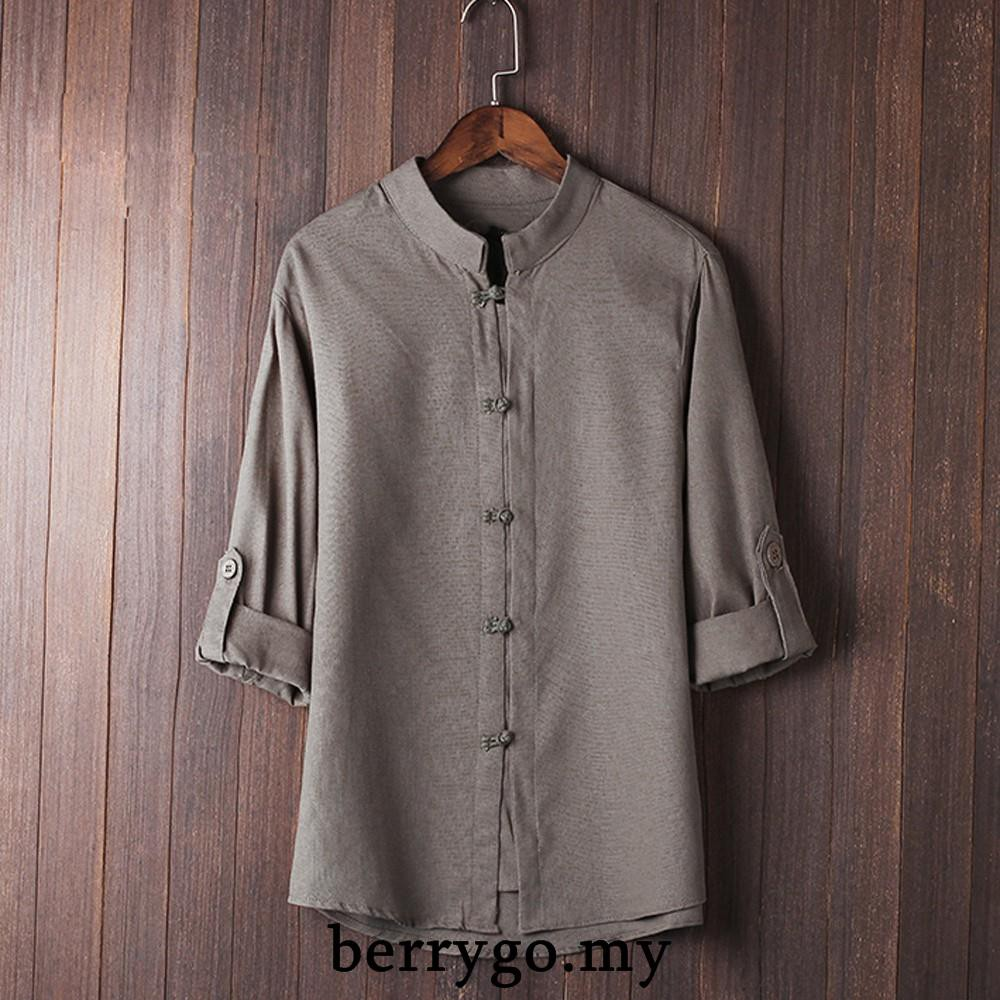 Shirts for Men Solid Color Tang Suit 3//4 Sleeve T-Shirts Chinese Style Kung Fu Shirt Tops Pullover