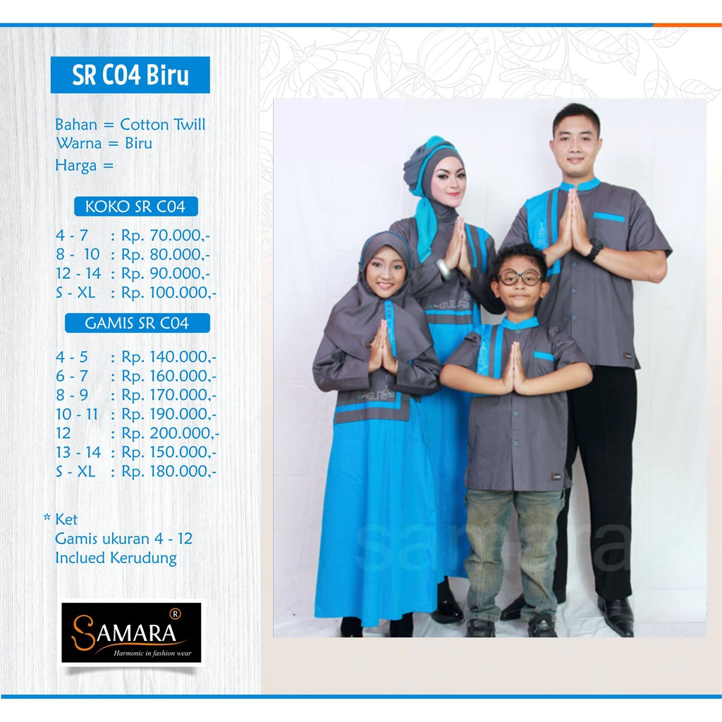 Baju Couple Keluarga Busana Muslim Sarimbit Gamis Syari Koko Pria Anak Wanita Lebaran / SR.C04 Biru | Shopee Indonesia