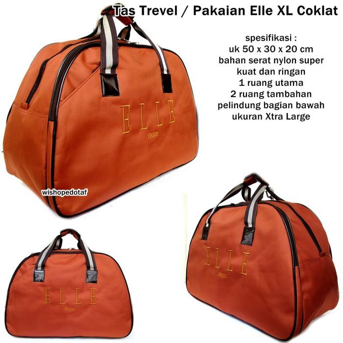 0284079ecd0c TAS TRAVEL BAG ELLE PAKAIAN BESAR COKLAT   Shopee Indonesia
