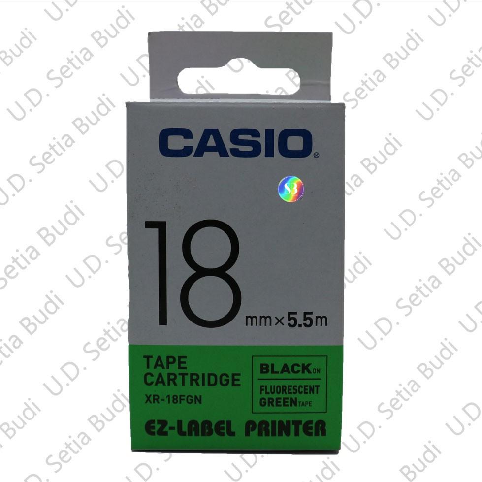 CASIO Label Tape XR-18FGN 18mm Black on Fluorescent Green Tape