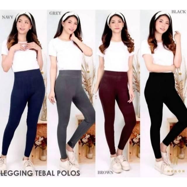 Celana Legging Tebal Fleece Premium Import Legging Polos Tebal Fashion Wanita Shopee Indonesia