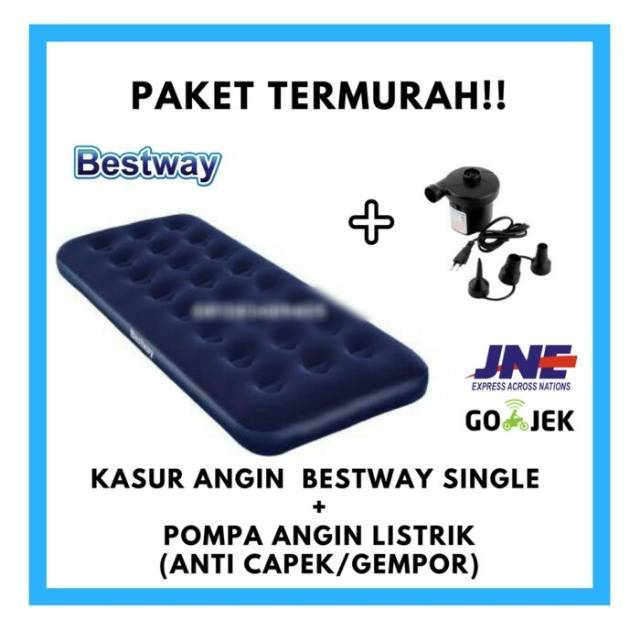 PAKET KASUR ANGIN BESTWAY PLUS POMPA ANGIN LISTRIK UKURAN SINGLE 185 X 75 cm | Shopee Indonesia