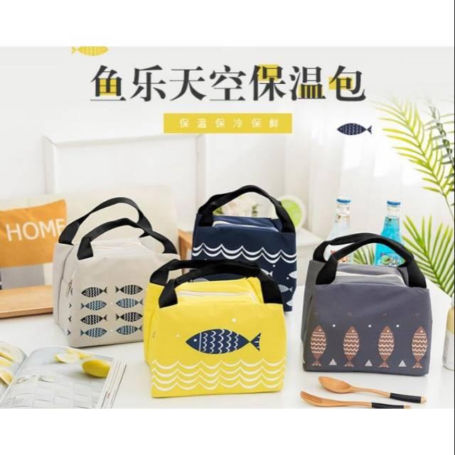 Cooler bag tas bekal motif ikan lunch bag asi