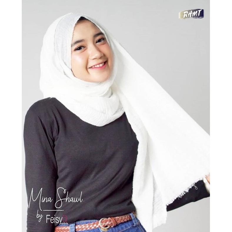 Hijab Pashmina Shawl Broken White Shopee Indonesia
