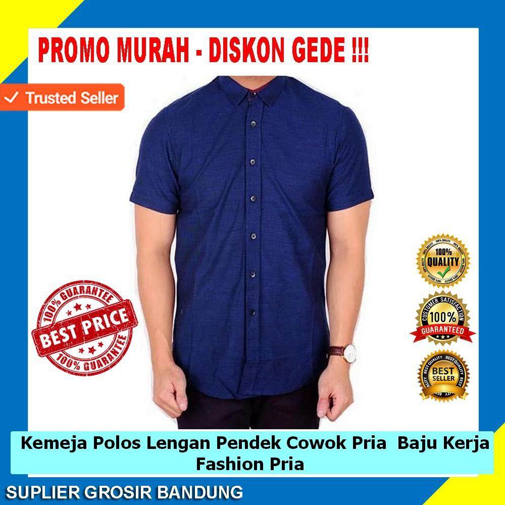 Kemeja Cowok Pria Lengan Pendek Polos / Baju Kerja Pendek | Shopee Indonesia