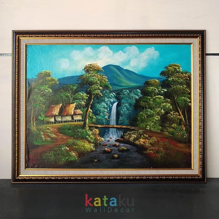 Sale Lukisan Kanvas Pemandangan Air Terjun Sungai Hutan Hiasan