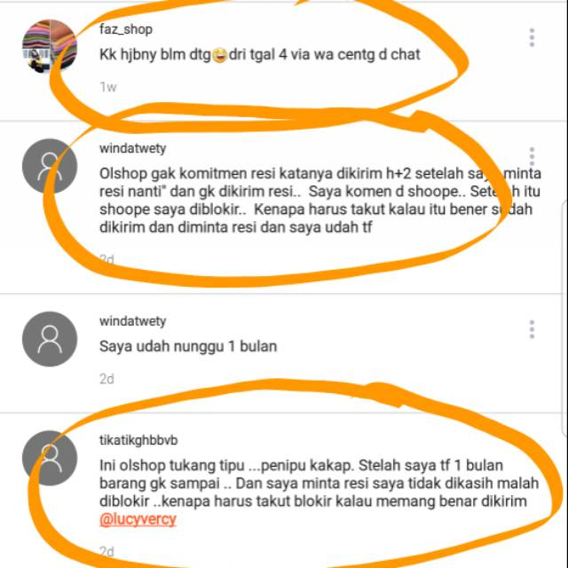 Bukti Penipuan Si Lucyvercy Shopee Indonesia