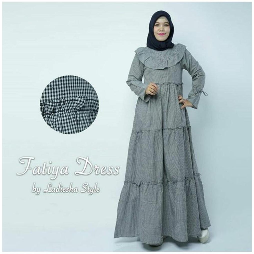 Diskon Gamis Dress Model Tingkat Bahan Katun Premium