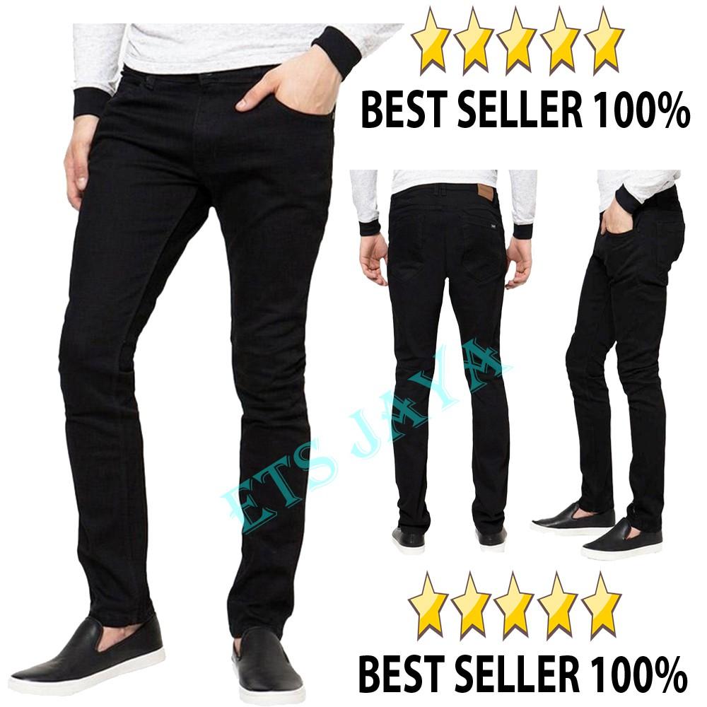 celana jeans hitam skinny / slimfit panjang pria - DC