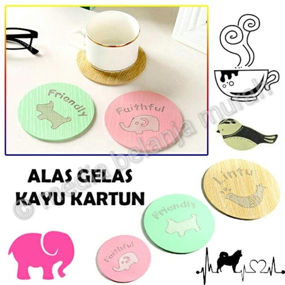 Tatakan Gelas Bulat / Alas Gelas Bahan Kayu Pinus / Coaster Set | Shopee Indonesia
