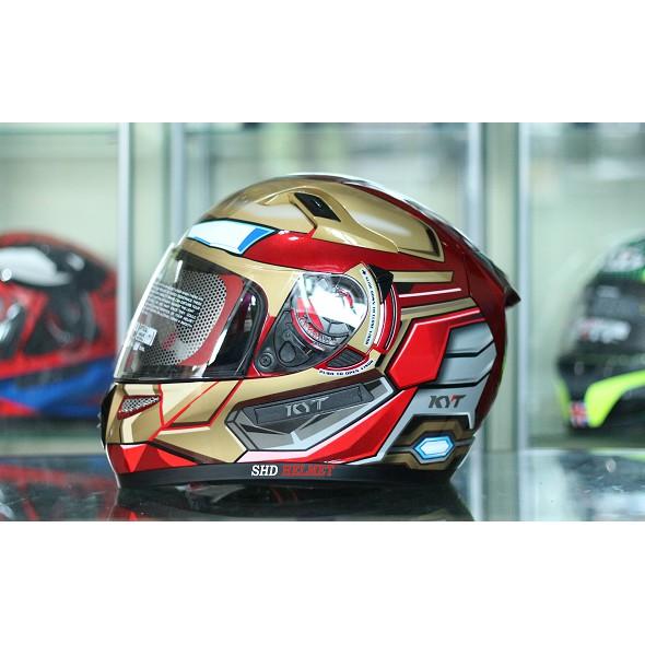 Helm KYT K2 Rider Iron Man Red Gold K2R Marvel Edition Terbaru Full Face Double Visor Murah SNI ORI