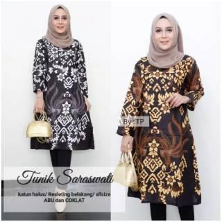 Model Batik Modern Tunik Saraswati Baju Kantor Shopee Indonesia