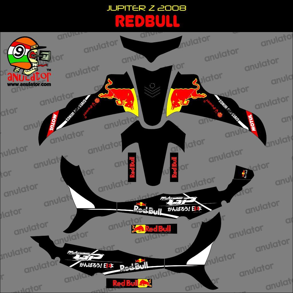 Termurah terlengkap sticker striping motor yamaha burhan jupiter z 2008 red bull spec a
