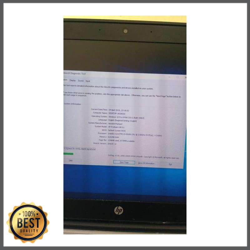Laptop Bekas  Hp 640 G1 Core i5 - RAM 8GB - HDD 500GB Second