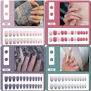 24pcs Kuku Palsu Lucu Dengan Lem Untuk Manicure R0102-R120 2