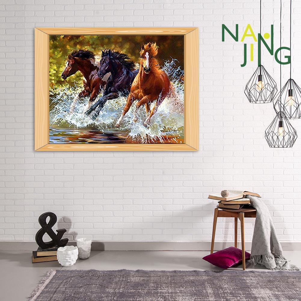 Lukisan Diamond 5D DIY Gambar Kuda Untuk Dekorasi Rumah