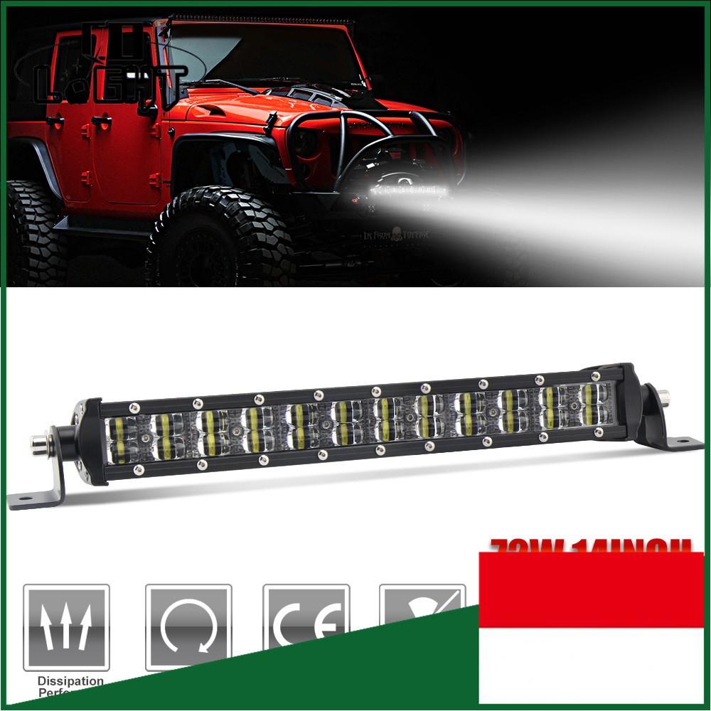 "2Pcs 7/""Cree LED 60W Single Row 6D Flood Beam Car SUV Off Road LED Work Light Bar"