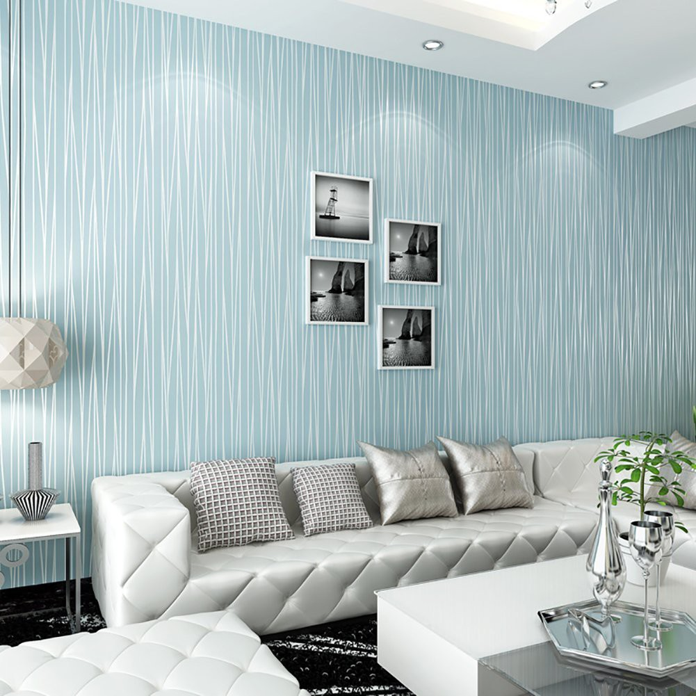 Striped Non Woven Background Wallpaper Bedroom Living Room Plain Color Wallpaper Shopee Indonesia