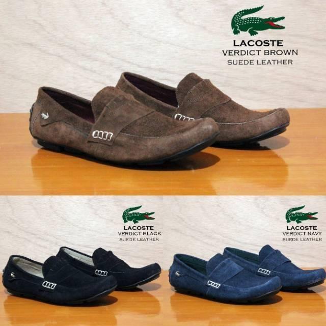 Sepatu santai casual slip on formal kantor kerja lapangan lacoste kulit  suede asli  4adc14fc34